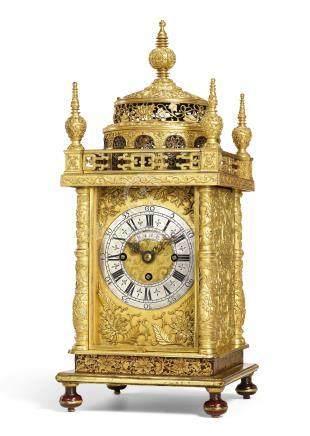 清乾隆   鍍金銅報時報刻樓閣式鐘《乾隆年製》款