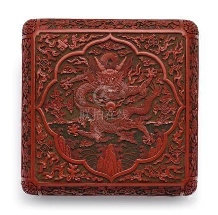 清乾隆   剔彩雲龍紋方盒《大清乾隆年製》款