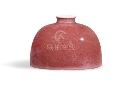 清康熙   豇豆紅釉刻團螭紋太白尊《大清康熙年製》款