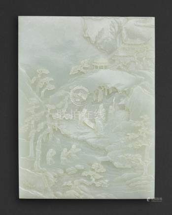 清十八世紀   白玉三星觀太極圖屏