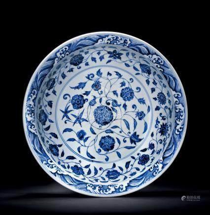 明永樂 青花纏枝蓮紋大盤  來源:日本私人博物館舊藏