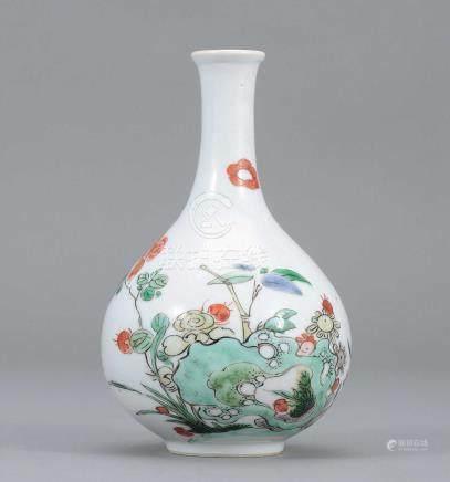 清康熙 五彩花碟圖瓶