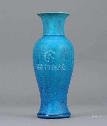 清康熙 孔雀綠觀音瓶