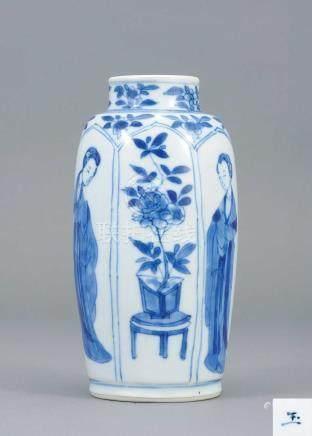 清康熙 青花花卉紋四美罐