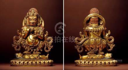 十五世紀  銅鎏金二臂瑪哈嘎拉