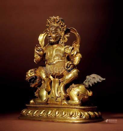 十八世紀 銅鎏金財寶天王