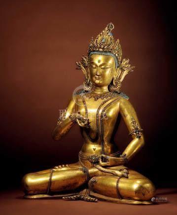 十五世紀 西藏 銅鎏金嵌綠松石金剛薩錘(背小绺)