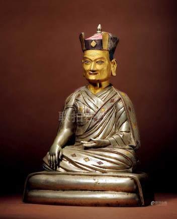 十六世紀 西藏 銀錯金銅泥金大寶法王噶瑪巴