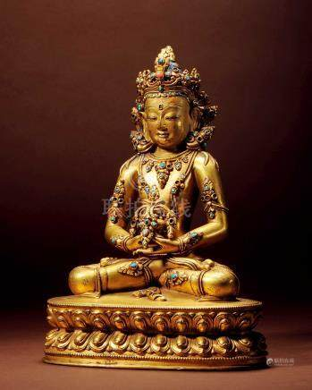 十六世紀 西藏 銅鎏金嵌綠松石無量壽佛