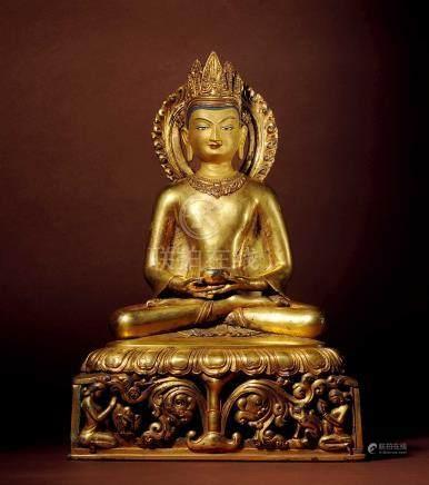 十五世紀 西藏 銅鎏金阿彌陀佛