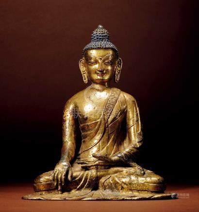 十六世紀 尼泊爾 銅鎏金釋迦牟尼