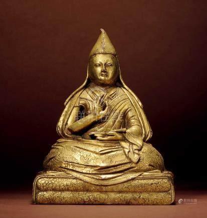 清 西藏 銅鎏金上師阿旺洛桑