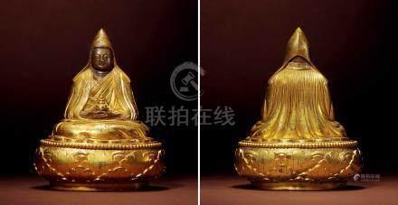 十七世紀 蒙古 銅鎏金大樂蓮師