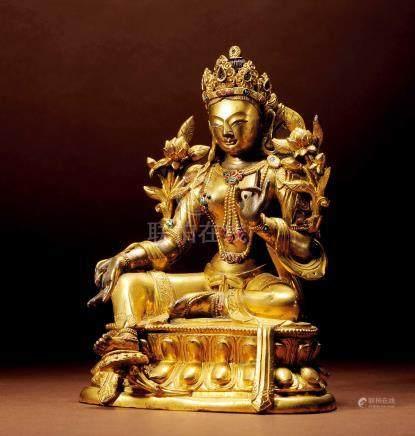 十七世紀 漢藏 銅鎏金嵌寶石綠度母