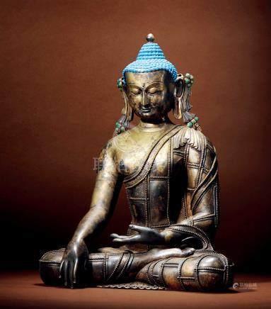 十七世紀 尼泊爾 銀合金釋迦牟尼