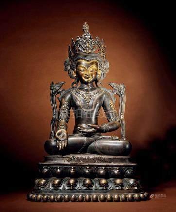 十五世紀 印度 七寶銅鎏金藥師佛