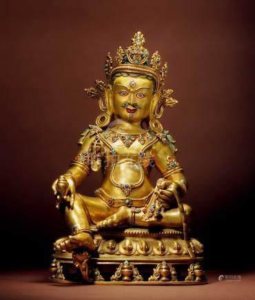 十七世紀 西藏 銅鎏金嵌寶石紅財神