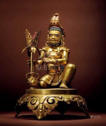 十七世紀 西藏 銅鎏金嵌綠松石象頭財神