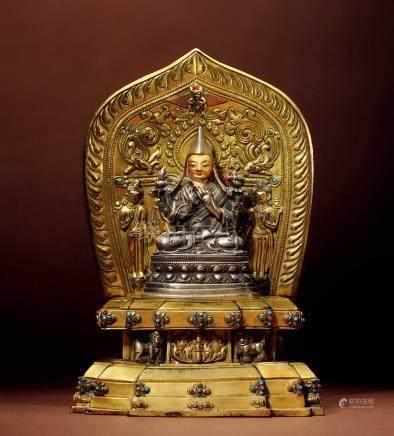 十六世紀 西藏 銀合金泥金宗喀巴 連銅鎏金座