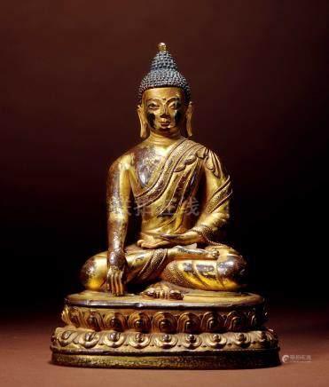 十六世紀 西藏 銅鎏金釋迦牟尼