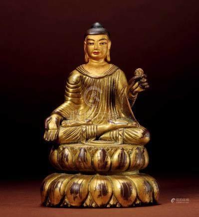 十七世紀 尼泊爾 銅鎏金釋迦牟尼  (喀什米爾造型)