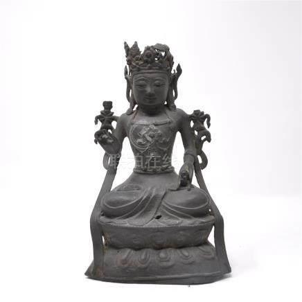 Statuette en bronze  de bouddha assis Ancienne trace de polychromie? Chine, XVIIe (accidents