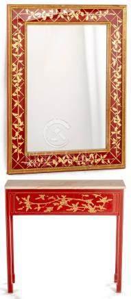 Console rectangulaire rouge et miroir assorti