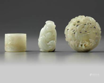 A group of three Chinese white jade carvings
