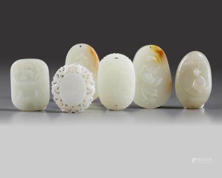 A group of six Chinese jade carvings