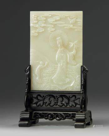 A Chinese celadon jade 'Guanyin' table screen