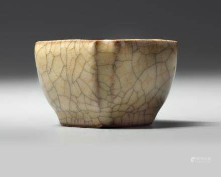 A Chinese crackle-glazed small square-section cup