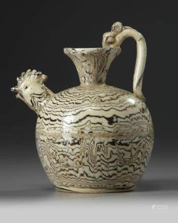 A Chinese marbled chicken head ewer