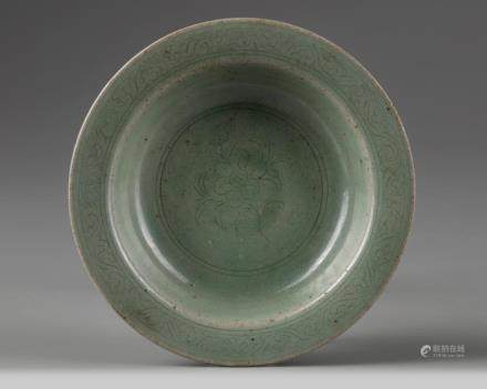 A Korean celadon-glazed carved stem dish