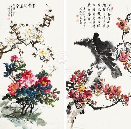 李煥平 富貴滿葉堂 / 李煥平 老鷹紅棉(有損)