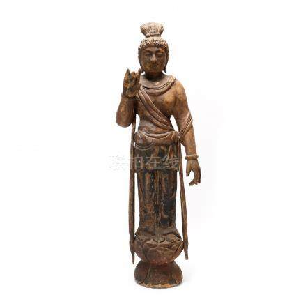 Carved and Painted Wood Figure of a Bodhisattva