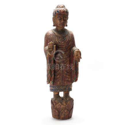 Chinese Carved Standing Buddha