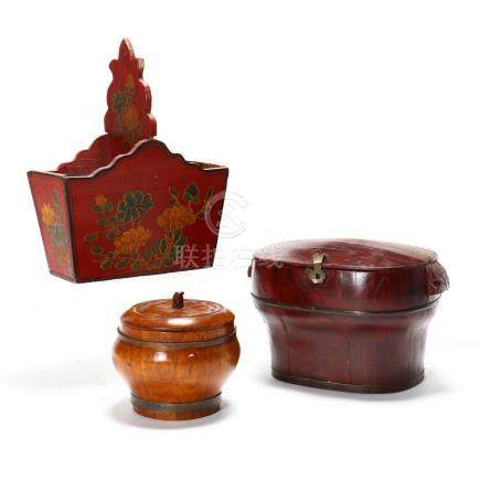 Three Asian Wooden Storage Vessels