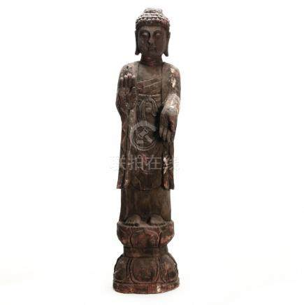 Chinese Carved Figure of a Standing Buddha