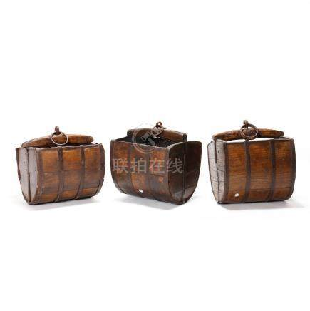 Three Chinese Wooden Well Buckets
