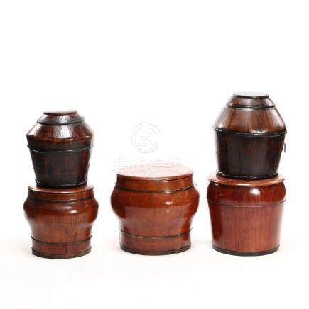 Five Chinese Lidded Storage Buckets