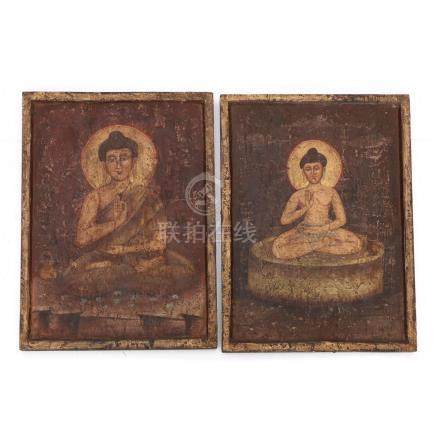 Two Medicine Buddha Painted Panels