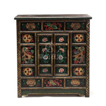 Tibetan Paint Decorated Storage Cabinet