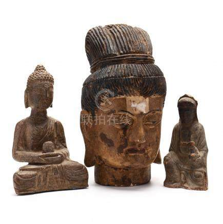 Three Carved Chinese Figures