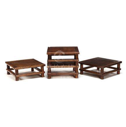 Four Chinese Hardwood Low Tables