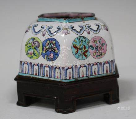 A Chinese Canton enamel famille rose brushwasher, Qing dynasty, of hexagonal form, painted with