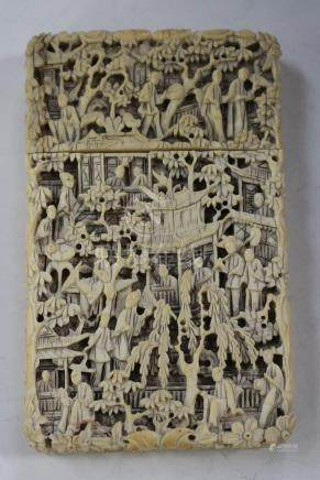 A Chinese Canton export ivory rectangular card case and cover, mid-19th century, carved and