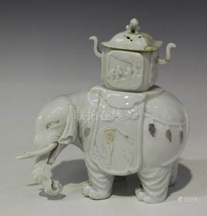 A Japanese Hirado (Mikawachi) porcelain koro in the form of an elephant, Meiji period, in the