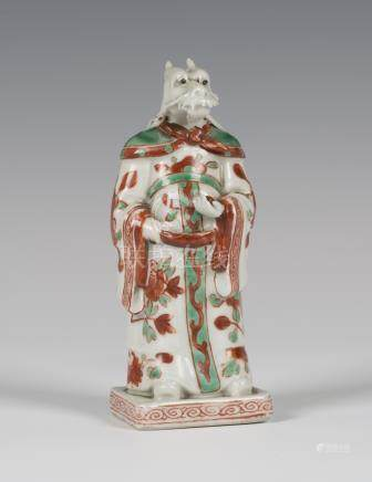 A Chinese Ming style zodiacal porcelain figure of a dragon headed scholar, mark of Hongzhi but