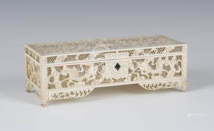 A Chinese Canton export ivory rectangular box, mid to late 19th century, the hinged lid and sides