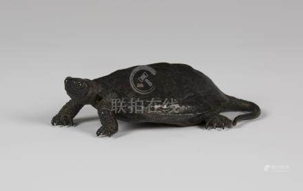 A Japanese brown patinated bronze okimono figure of a terrapin, Meiji period, modelled with head